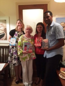 Authors Tamsyn Murray, Anna McQuinn, Sufiya Ahmed and Paul Crooks at Tea & Tattle on Saturday