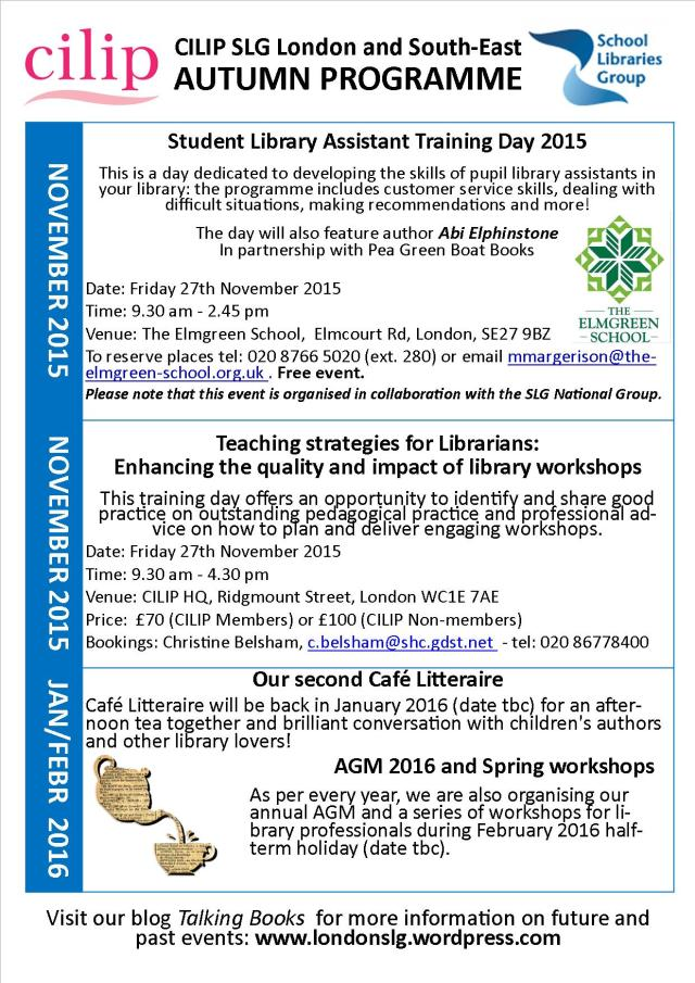 SLG London and SE Autumn 2015 events JPEG